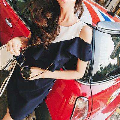 深蓝荷叶边修身连衣裙