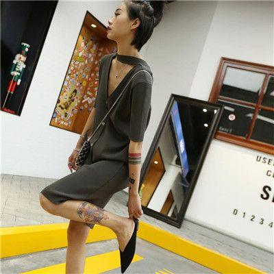 针织短袖连衣裙